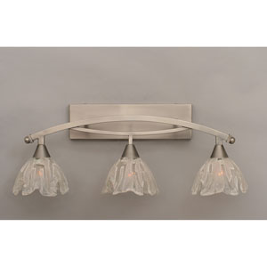 Bow Brushed Nickel Three-Light Bath Bar w/ 7-Inch Italian Ice Glass