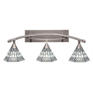 Bow Brushed Nickel Three-Light Bath Bar with 7-Inch Pewter Tiffany Glass