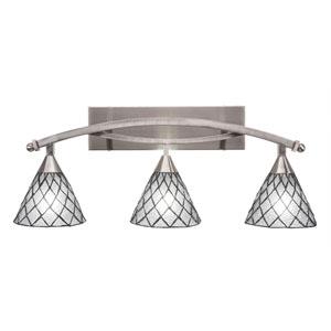 Bow Brushed Nickel Three-Light Bath Bar with 7-Inch Diamond Ice Tiffany Glass