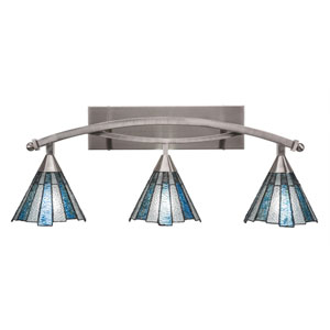 Bow Brushed Nickel Three-Light Bath Bar with 7-Inch Sea Ice Tiffany Glass