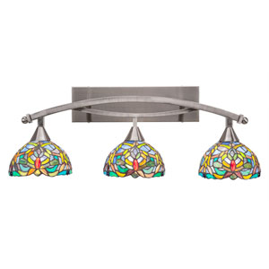 Bow Brushed Nickel Three-Light Bath Bar with 7-Inch Kaleidoscope Tiffany Glass
