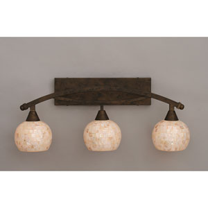 Bow Bronze Three-Light Bath Bar w/ 6-Inch Sea Shell Glass