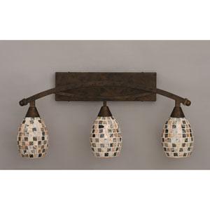 Bow Bronze Three-Light Bath Bar w/ 6-Inch Sea Shell Glass