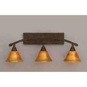 Bow Bronze Three-Light Bath Bar w/ 7-Inch Firr Saturn Glass