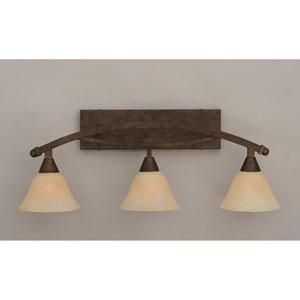 Bow Bronze Three-Light Bath Bar w/ 7-Inch Amber Marble Glass