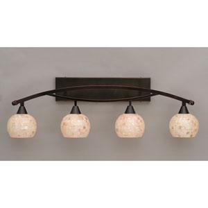 Bow Black Copper Four-Light Bath Bar w/ 6-Inch Sea Shell Glass