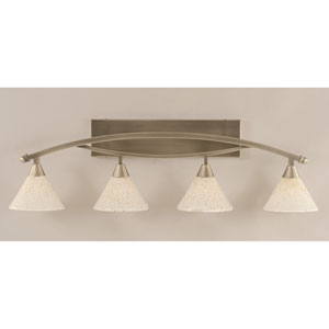 Bow Brushed Nickel Four-Light Bath Bar w/ 7-Inch Gold Ice Glass