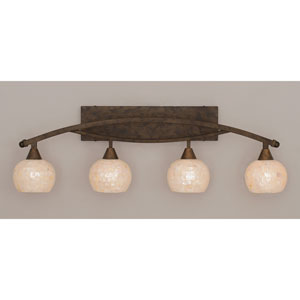 Bow Bronze Four-Light Bath Bar w/ 6-Inch Sea Shell Glass