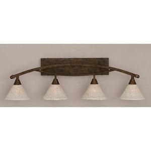 Bow Bronze Four-Light Bath Bar w/ 7-Inch Gold Ice Glass