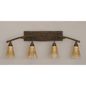Bow Bronze Four-Light Bath Bar w/ 5.5-Inch Amber Crystal Glass