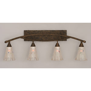 Bow Bronze Four-Light Bath Bar w/ 5.5-Inch Frosted Crystal Glass