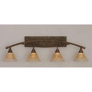 Bow Bronze Four-Light Bath Bar w/ 7-Inch Amber Crystal Glass