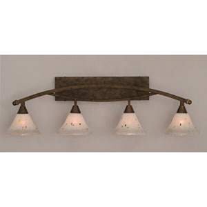 Bow Bronze Four-Light Bath Bar w/ 7-Inch Frosted Crystal Glass