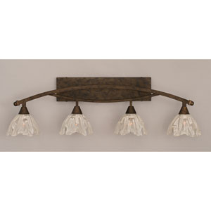 Bow Bronze Four-Light Bath Bar w/ 7-Inch Italian Ice Glass