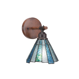 Blacksmith Dark Granite One-Light Wall Sconce with 7-Inch Sea Ice Tiffany Glass
