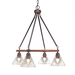 Blacksmith Dark Granite Four-Light Chandelier with 7-Inch Clear Bubble Glass