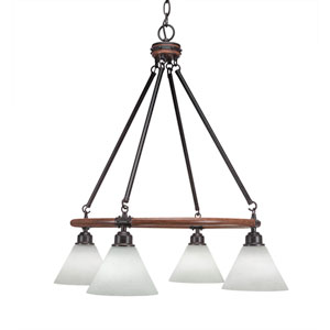 Blacksmith Dark Granite Four-Light Chandelier with 7-Inch White Muslin Glass