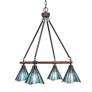 Blacksmith Dark Granite Four-Light Chandelier with 7-Inch Sea Ice Tiffany Glass