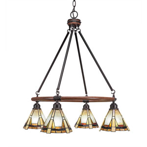 Blacksmith Dark Granite Four-Light Chandelier with 7-Inch Zion Tiffany Glass