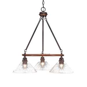 Blacksmith Dark Granite Three-Light Chandelier with 10-Inch Clear Bubble Glass