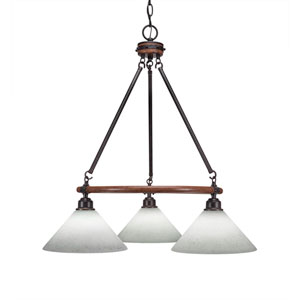 Blacksmith Dark Granite Three-Light Chandelier with 10-Inch White Muslin Glass