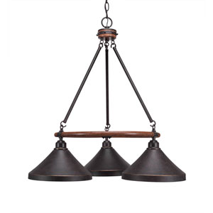 Blacksmith Dark Granite Three-Light Chandelier with 10-Inch Dark Granite Metal Steel