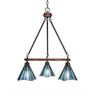 Blacksmith Dark Granite Three-Light Chandelier with 7-Inch Sea Ice Tiffany Glass