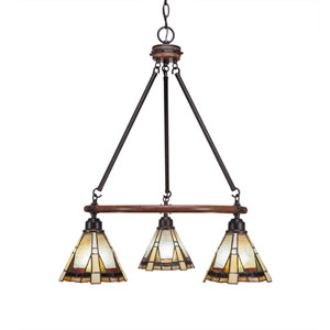 Blacksmith Dark Granite Three-Light Chandelier with 7-Inch Zion Tiffany Glass