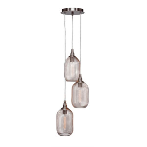 Plexus Brushed Nickel Three-Light 12-Inch Pendant with 9-Inch Canopy