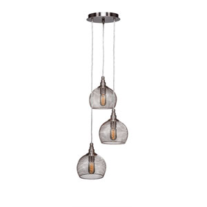Plexus Brushed Nickel Three-Light 15-Inch Pendant with 9-Inch Canopy