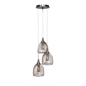 Plexus Brushed Nickel Three-Light 14-Inch Pendant with 9-Inch Canopy