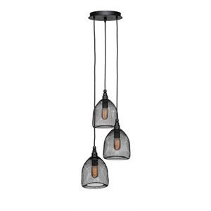 Plexus Matte Black Three-Light 14-Inch Pendant with 9-Inch Canopy