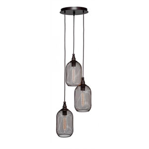 Plexus Matte Black Three-Light 12-Inch Pendant with 9-Inch Canopy