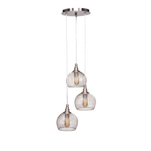 Plexus Brushed Nickel Three-Light 15-Inch Pendant with 10-Inch Canopy