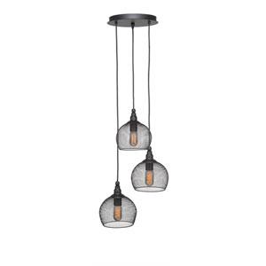 Plexus Matte Black Three-Light 15-Inch Pendant with 10-Inch Canopy