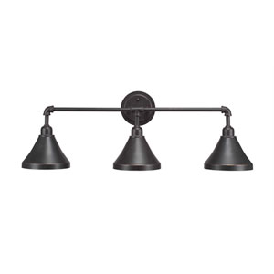 Vintage Dark Granite Three-Light 9.5-Inch Bath Bar with 7-Inch Dark Granite Metal Shade