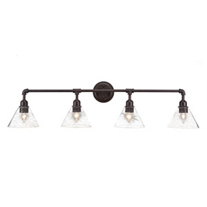 Vintage Dark Granite Four-Light Bath Vanity with Clear Bubble Glass