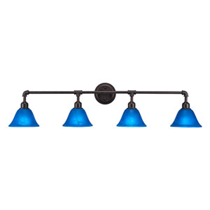 Vintage Dark Granite Four-Light Bath Vanity with Blue Italian Glass