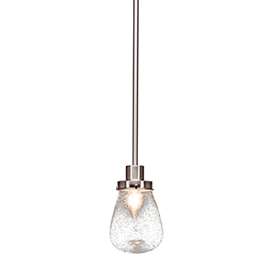 Meridian Brushed Nickel One-Light Mini Pendant with Clear Bubble Glass