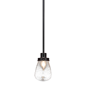 Meridian Dark Granite One-Light Mini Pendant with Clear Bubble Glass