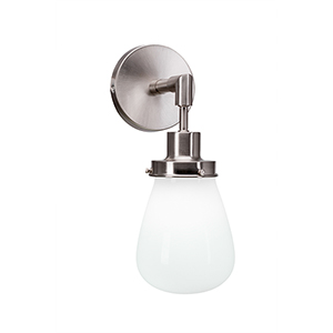 Meridian Brushed Nickel One-Light Wall Sconce with White Glass