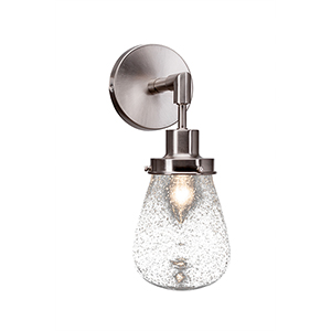 Meridian Brushed Nickel One-Light Wall Sconce with Clear Bubble Glass
