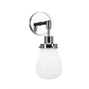 Meridian Chrome One-Light Wall Sconce with White Glass