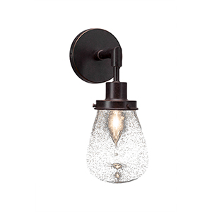 Meridian Dark Granite One-Light Wall Sconce with Clear Bubble Glass