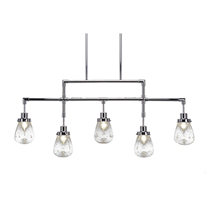 Meridian Chrome Five-Light Island Pendant with Clear Bubble Glass