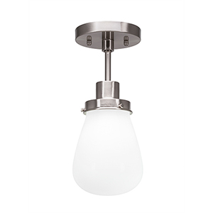 Meridian Brushed Nickel One-Light Semi Flush Mount with White Glass