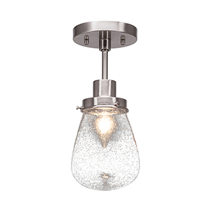 Meridian Brushed Nickel One-Light Semi Flush Mount with Clear Bubble Glass