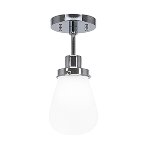 Meridian Chrome One-Light Semi Flush Mount with White Glass