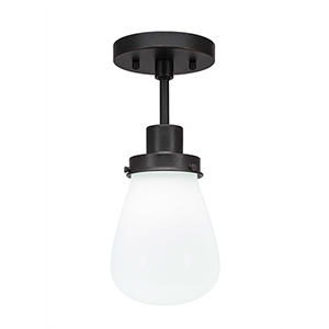 Meridian Dark Granite One-Light Semi Flush Mount with White Glass