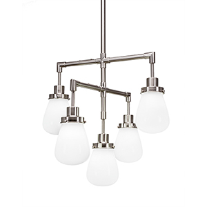 Meridian Brushed Nickel Five-Light Chandelier with White Glass
